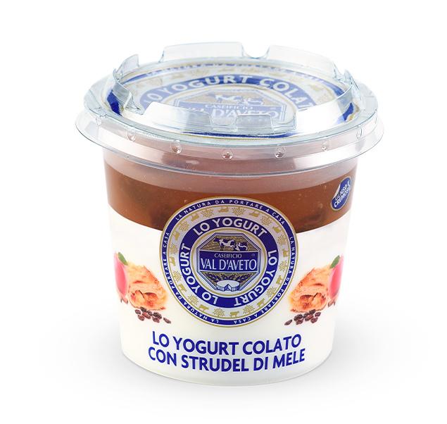 yogurt colato strudel di mele-caseificio Val d'Aveto